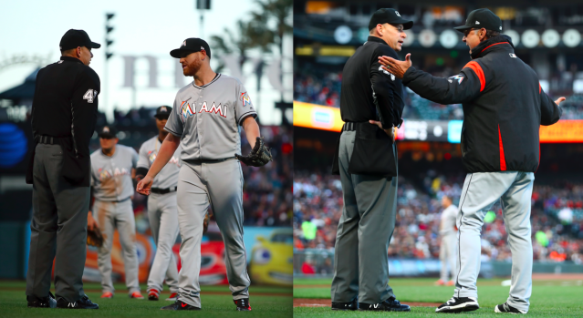 Dan Straily and Don Mattingly were suspended after a beanball war with the Giants. (Images via AP Photo)