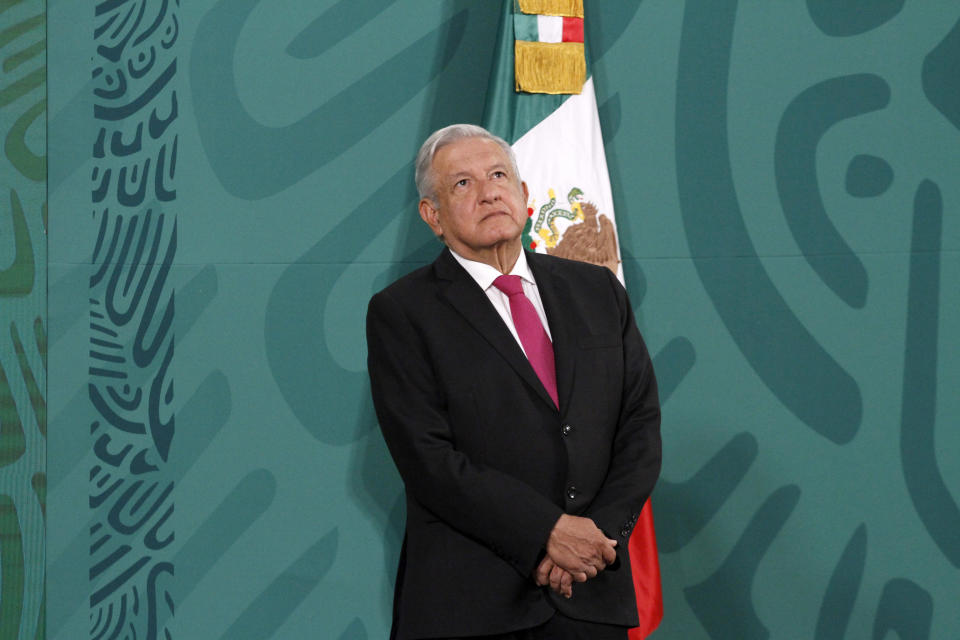 MEXICO CITY, MEXICO - APRIL 13, 2021: Mexico's President, Andres Manuel Lopez Obrador, speaks during a press conference about of production advances of the 'Patria' vaccine against Covid19 with the support of the specialists from the National Council of Science and Technology (CONACYT) at National Palace on April 13, 2021 in Mexico City, Mexico. (Photo credit should read Luis Barron / Eyepix Group/Barcroft Media via Getty Images)