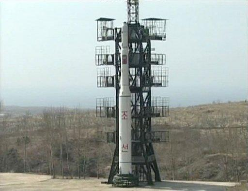 A photo released by North Korea's official Korean Central News Agency shows an Unha-2 rocket as it is prepared for launch from Hwadae-gun in North Hamgyong province in 2009. S. Korea accused N. Korea on Monday of trying to develop a nuclear-armed missile through a satellite launch next month, after Pyongyang dismissed international calls to abandon the exercise