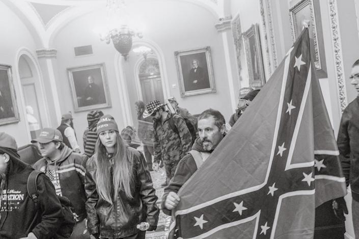 """Pro-Trump rioters seen inside the Capitol on Jan. 6.<span class=""""copyright"""">Christopher Lee for TIME</span>"""
