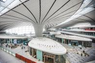 The Beijing Daxing International Airport sits at the junction of Beijing's Daxing District and Langfang of Hebei Province. (Photo by Zheng Liang/China.com.cn/Visual China Group via Getty Images)