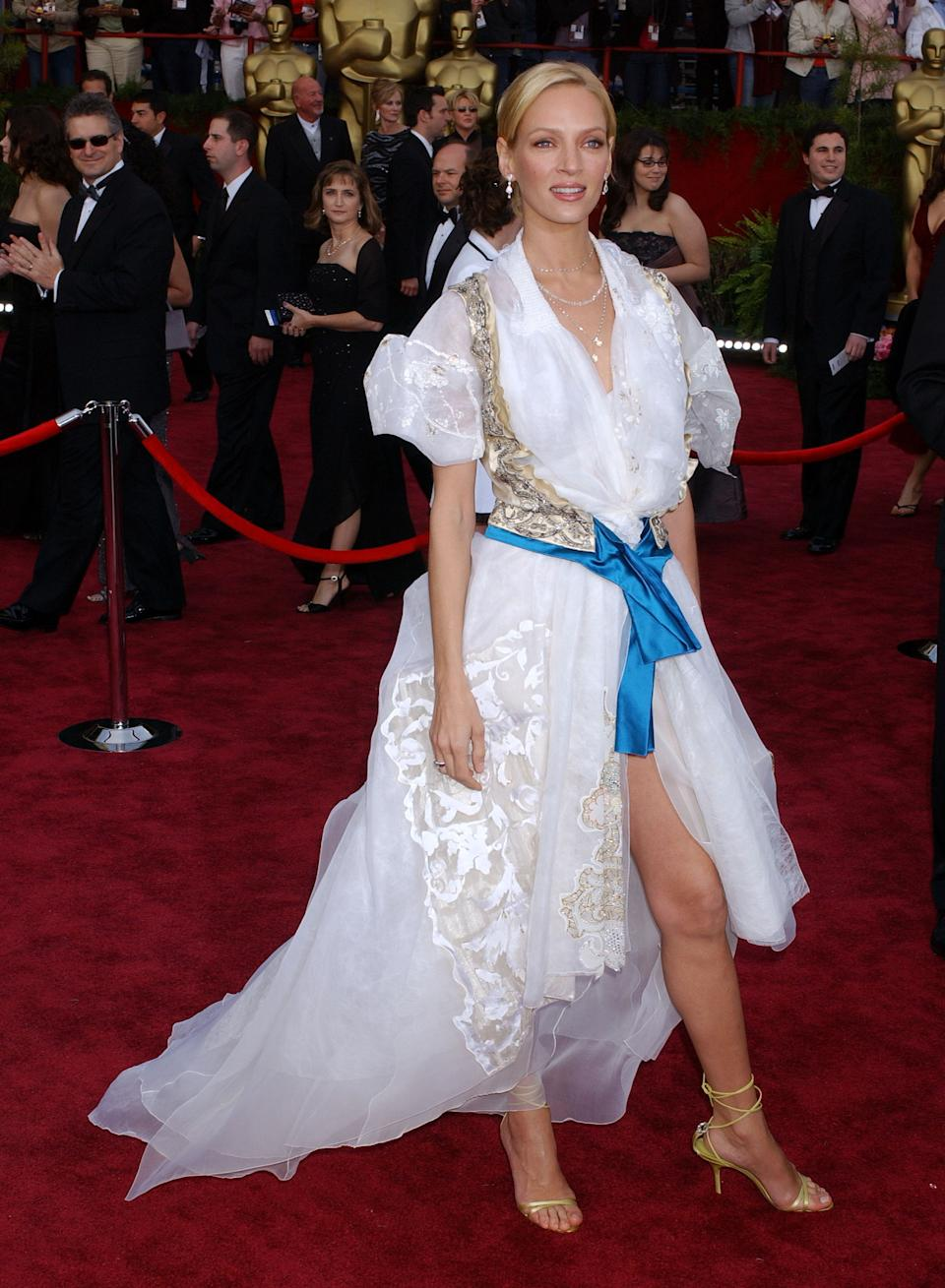 """<p>Although a statuesque star like Thurman could still shine in a paper bag, the """"Kill Bill"""" star <a href=""""https://metro.co.uk/2013/02/21/oscars-fashion-hall-of-shame-the-top-ten-worst-dressed-ever-3508163/"""" rel=""""nofollow noopener"""" target=""""_blank"""" data-ylk=""""slk:called"""" class=""""link rapid-noclick-resp"""">called</a> wearing the Von Trapp Family singer ensemble to the 2004 Academy Awards her """"most embarrassing experience.""""</p>"""