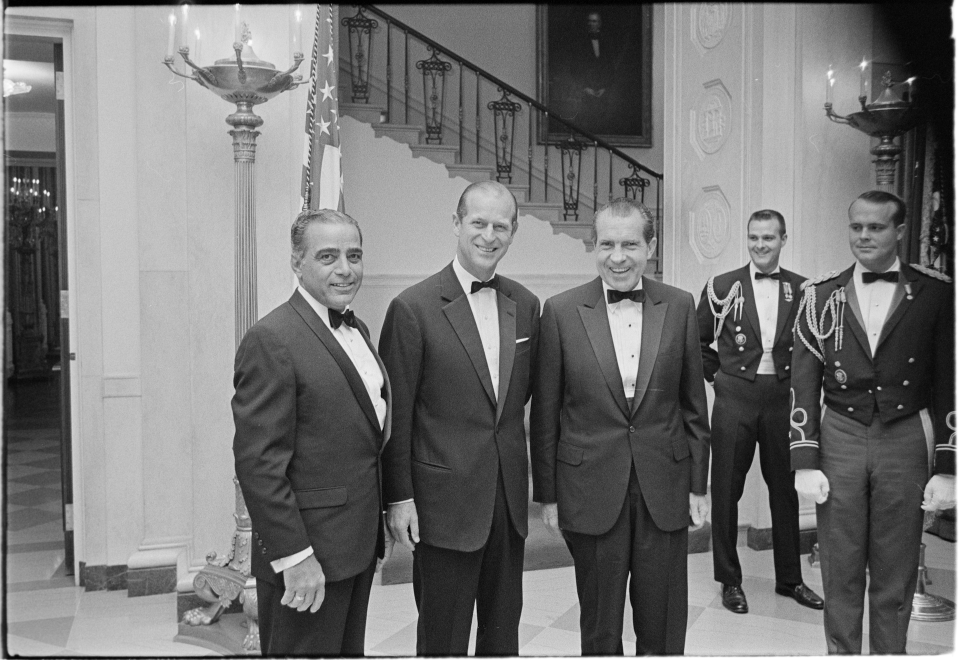 Prince Philip and Richard Nixon with Bebe Robozo at the White House in November 1969. (Nixon Presidential Library)