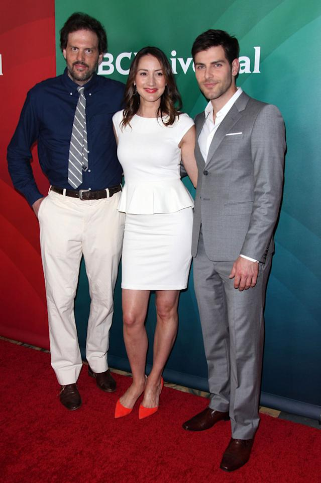 "Silas Weir Mitchell, Bree Turner and David Guintoli (""Grimm"") attend the 2013 NBC Universal Summer Press Day held at The Langham Huntington Hotel and Spa on April 22, 2013 in Pasadena, California."
