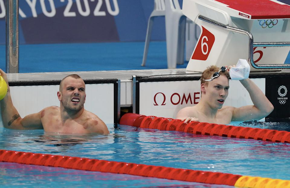 Seen here, Kyle Chalmers after winning silver in the 100m freestyle.