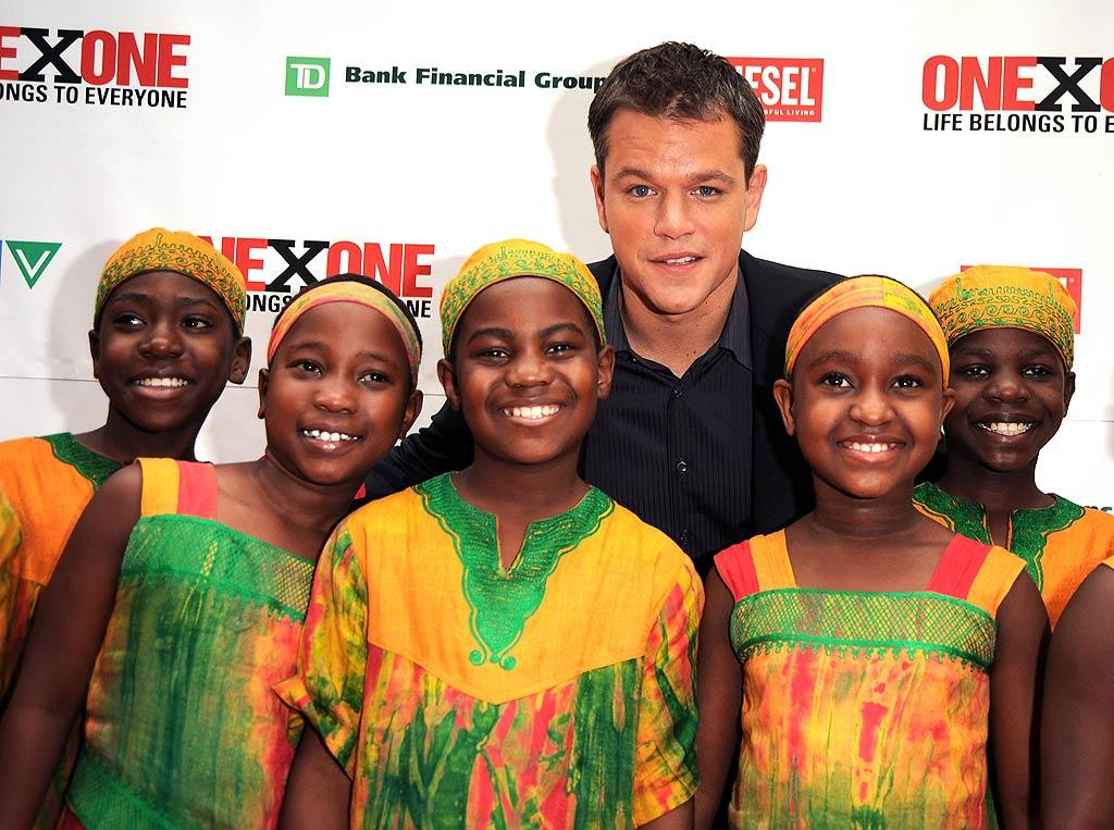 "Matt Damon hosts the OneXOne Difference Awards in Toronto. The ceremony raises money for domestic and global charities. George Pimentel/<a href=""http://www.wireimage.com"" target=""new"">WireImage.com</a> - September 8, 2008"