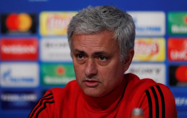 Soccer Football - Champions League - Manchester United Press Conference - Ramon Sanchez Pizjuan, Seville, Spain - February 20, 2018 Manchester United manager Jose Mourinho during the press conference Action Images via Reuters/Andrew Couldridge