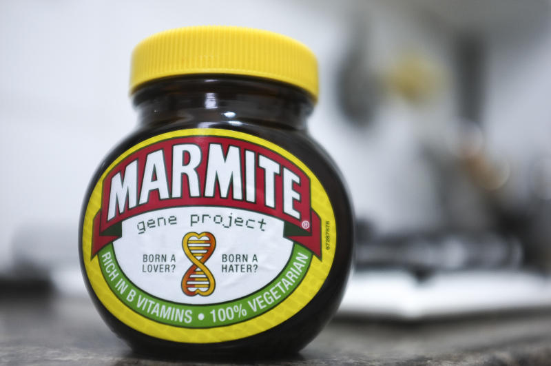 Anglo-Dutch consumer goods giant Unileves, maker of Marmite and Dove soap, is to abandon its London HQ. A jar of Marmite is pictured in London on March 15, 2018. (Photo by Alberto Pezzali/NurPhoto via Getty Images)
