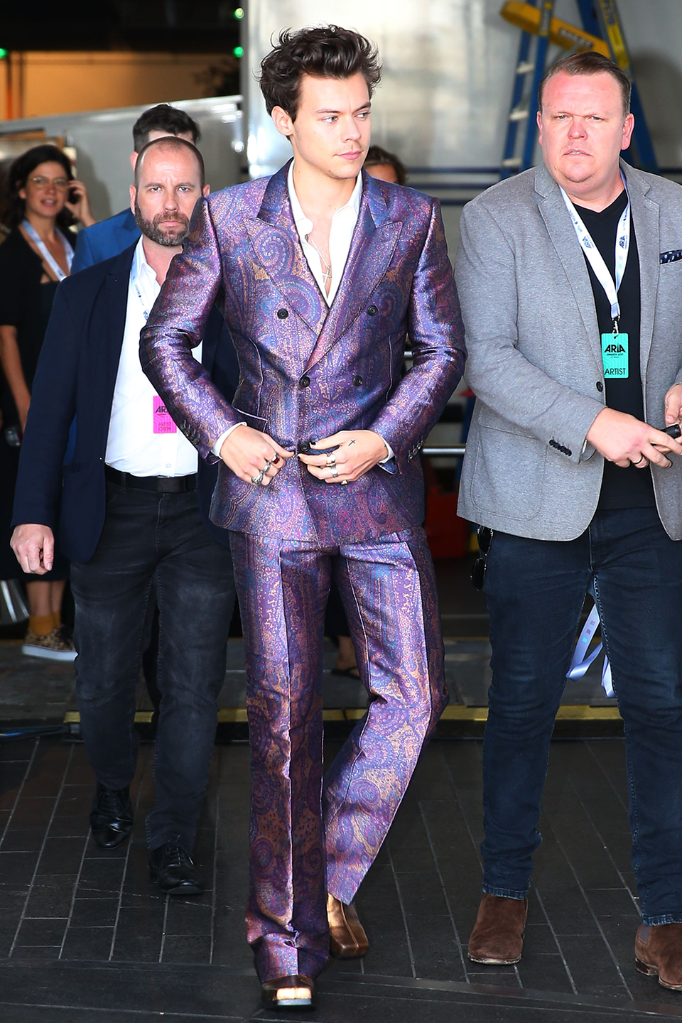 <p>This one belongs in a museum, TBH. He wore this metallic paisley Alexander McQueen to the ARIA Music Awards in Sydney, Australia and I am just gonna kindly ask you to lay this pic in my casket, thanks.</p>