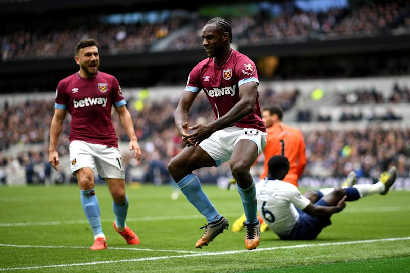 Michail Antonio of West Ham United celebrates after scoring against Tottenham Hotspur (Photo by Shaun Botterill/Getty Images)