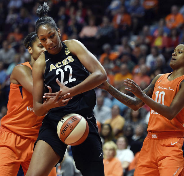 A'ja Wilson and the Aces got caught in a difficult travel day that included multiple delays. (Sean D. Elliot/The Day via AP)