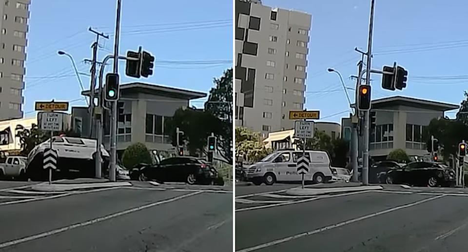Dash cam vision of a collision between police and a Mazda in Queensland
