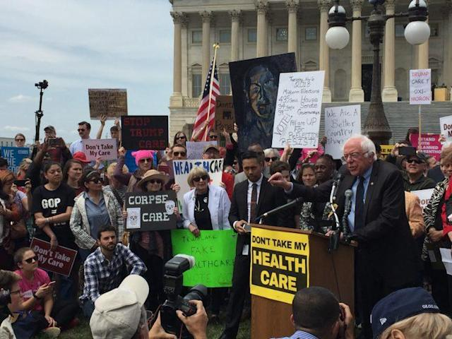 Sen. Bernie Sanders addresses opponents of the Republican health care overhaul outside the Capitol. (Garance Franke-Ruta/Yahoo News)