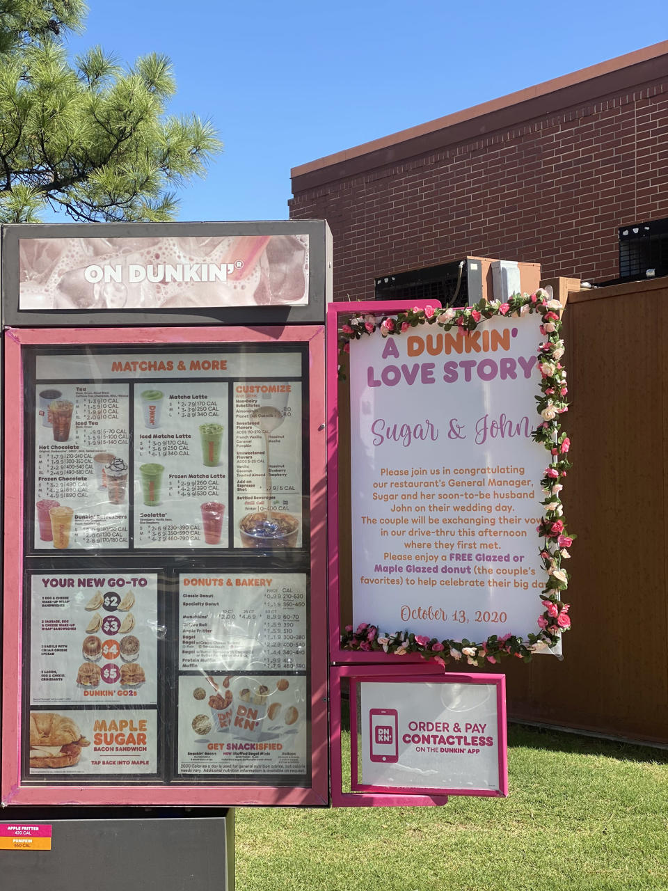 The Dunkin' love story was showcased on the restaurant's menu. (Courtesy Jillian Gallagher and Emma Burke)