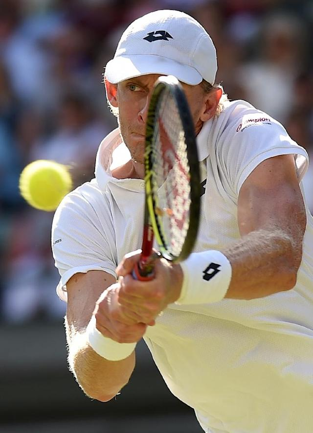 Power and the glory: South Africa's Kevin Anderson (AFP Photo/Oli SCARFF )