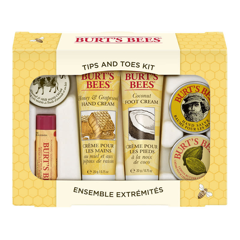 "<p>This cute gift set is a reminder to take care of two oft-neglected areas: hands and feet.<a href=""http://www.walmart.com/ip/Burt-s-Bees-Tips-Toes-Kit-6ct/16617766""> Burt's Bees Tips and Toes Kit</a> ($10)<br /></p>"