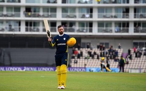 James Vince of Hampshire leaves the field after being dismissed for 190 during the Royal London One Day Cup match between Hampshire and Gloucestershire at The Ageas Bowl on April 26, 2019 in Southampton, England - Credit: Getty Images