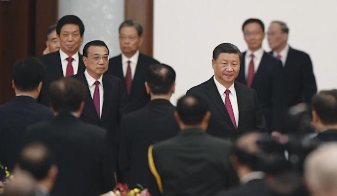 Chinese President Xi Jinping (centre right) hosts a dinner on Wednesday at the Great Hall of the People in Beijing. Photo: Kyodo
