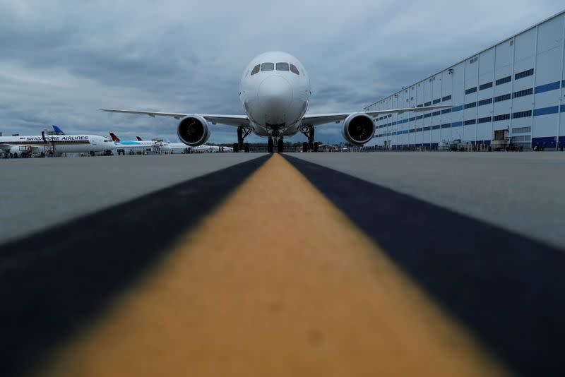 The new Boeing 787-10 Dreamliner sits on the tarmac before a delivery ceremony to Singapore Airlines at the Boeing South Carolina Plant in North Charleston