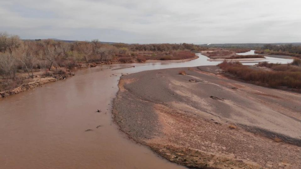 This April 13, 2021 image shows the Rio Grande flowing just south of Bernalillo, N.M. The U.S. Bureau of Reclamation released its annual operating plan for the river Thursday, April 15, 2021, saying it's going to be a tough year due to below average snowpack and spring precipitation. (AP Photo/Susan Montoya Bryan)