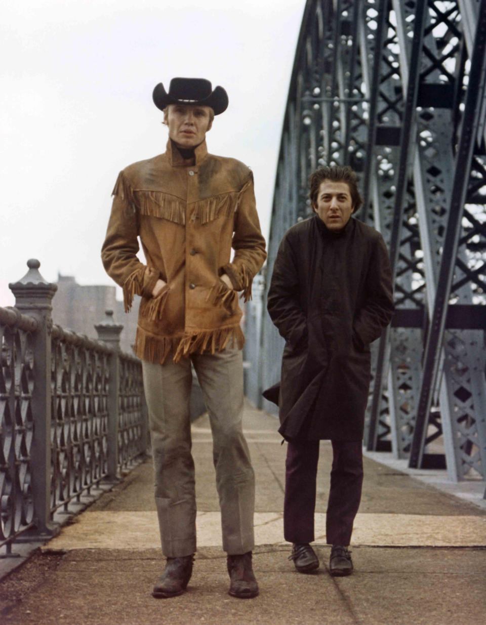 American actors Dustin Hoffman and Jon Voight on the set of Midnight Cowboy, directed by John Schlesinger. (Photo by Photo United Artists/Sunset Boulevard/Corbis via Getty Images)