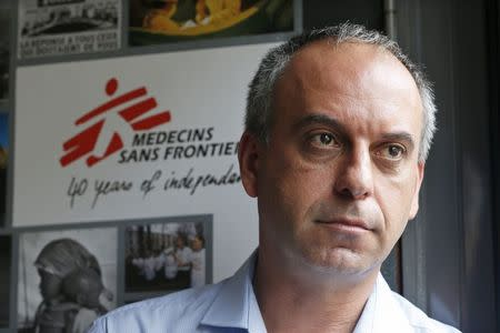 Mego Terzian, President of Medecins sans Frontieres France, poses during an interview with Reuters at the MSF headquarters in Paris