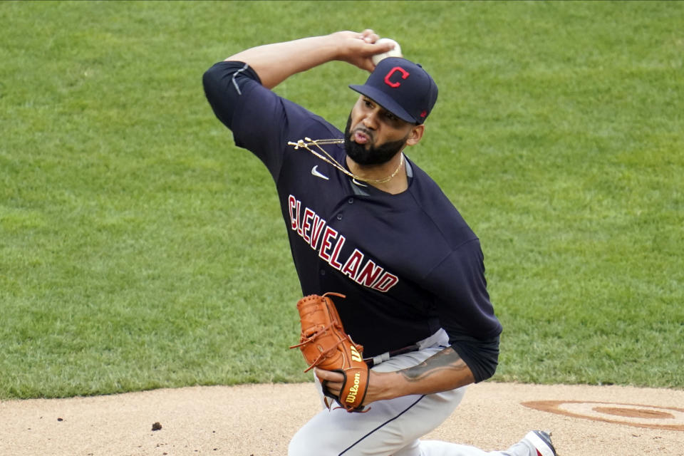 Cleveland Indians pitcher J.C. Mejia throws against the Minnesota Twins in the first inning of a baseball game, Thursday, June 24, 2021, in Minneapolis (AP Photo/Jim Mone)
