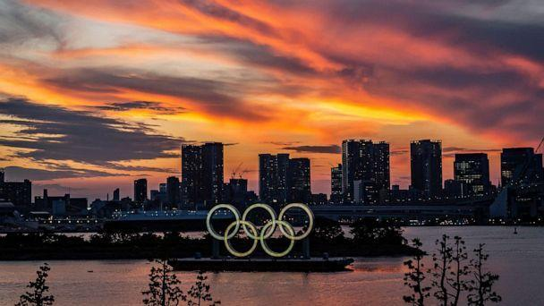 PHOTO: Olympics rings are seen at sunset on July 21, 2021 in Tokyo. (Yuichi Yamazaki/Getty Images)