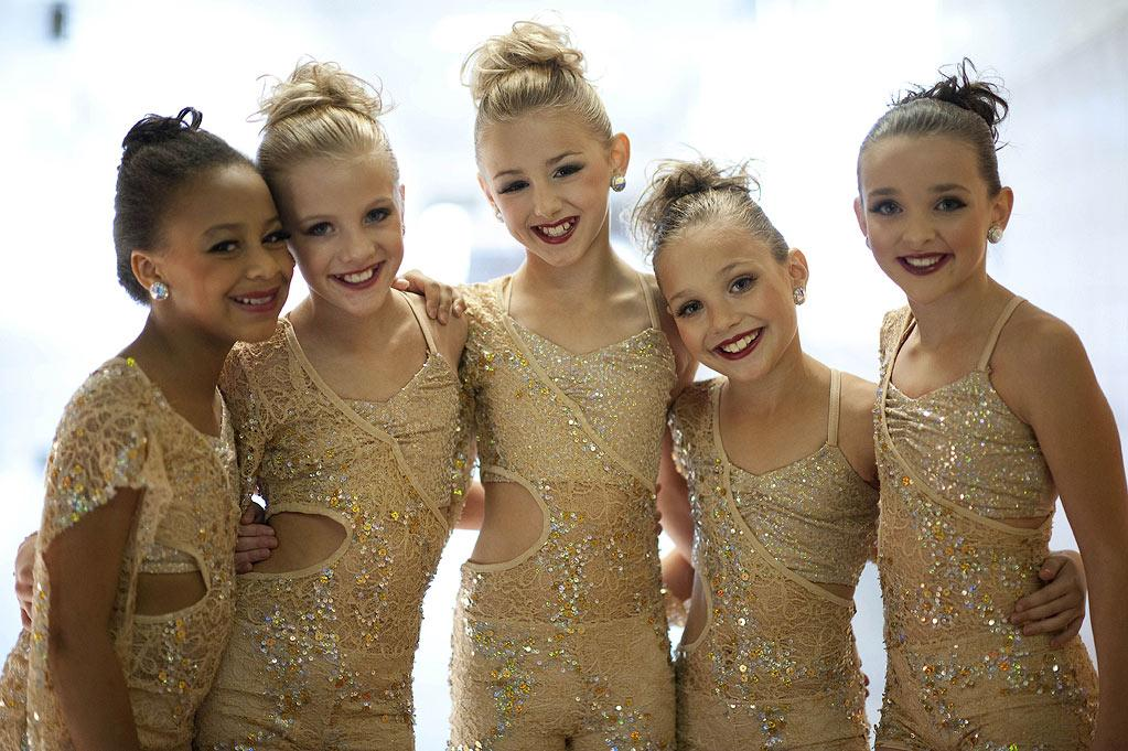 "Nia, Paige, Chloe, Maddie, and Kendall show off their dance skills in the second season of ""Dance Moms."""