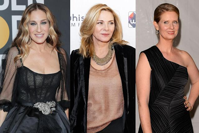Sarah Jessica Parker and Cynthia Nixon have reached out to Kim Cattrall via social media to offer condolences about her brother. (Photos: Getty Images)