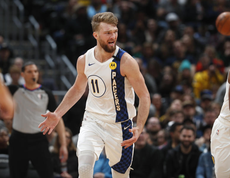 Indiana Pacers forward Domantas Sabonis argues for a foul in the second half of an NBA basketball game against the Denver Nuggets Sunday, Jan. 19, 2020, in Denver. Indiana won 115-107. (AP Photo/David Zalubowski)