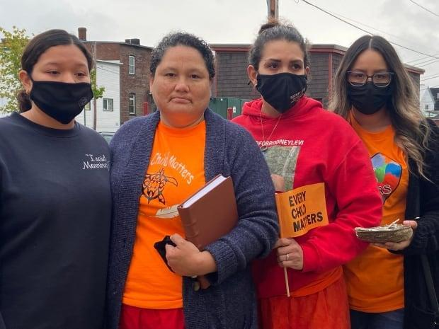 Rodney Levi's sister and three nieces have been attending the inquest into his death at the hands of police. Picture from left: Glo Denny, Rhoda Levi, Lana Levi and Gina Levi. (Rachel Cave/CBC - image credit)