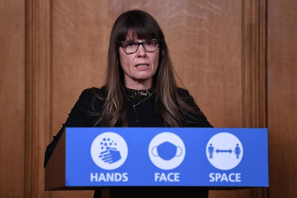 Dr Susan Hopkins during a media briefing in Downing Street, London, on coronavirus (COVID-19).