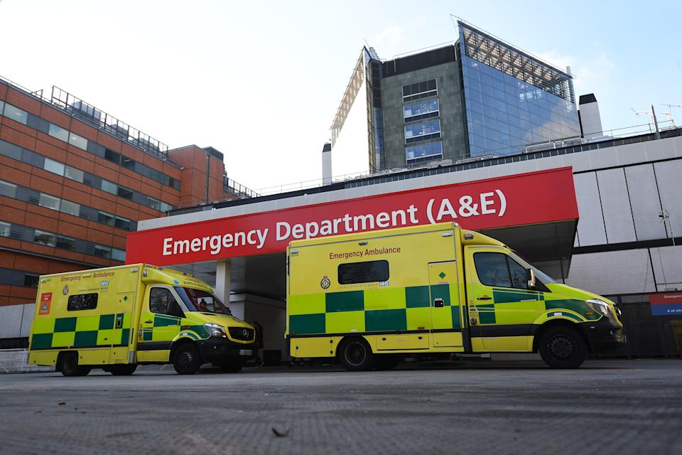 NHS ambulances parked outside the accident and emergency (A&E) department of St Thomas' Hospital in central London. PA Photo. Picture date: Wednesday February 6, 2020. See PA story HEALTH Hospital. Photo credit should read: Victoria Jones/PA Wire