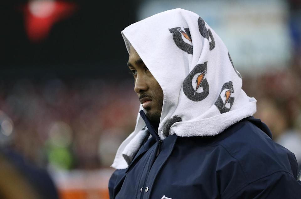 Seattle Seahawks outside linebacker K.J. Wright watches from the sideline late in the second half of an NFL football game against the San Francisco 49ers, Sunday, Dec. 8, 2013, in San Francisco. The the 49ers defeated the Seahawks 19-17. (AP Photo/Ben Margot)
