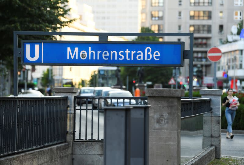 """A sign for """"Mohrenstrasse"""" subway station is seen in central Berlin"""