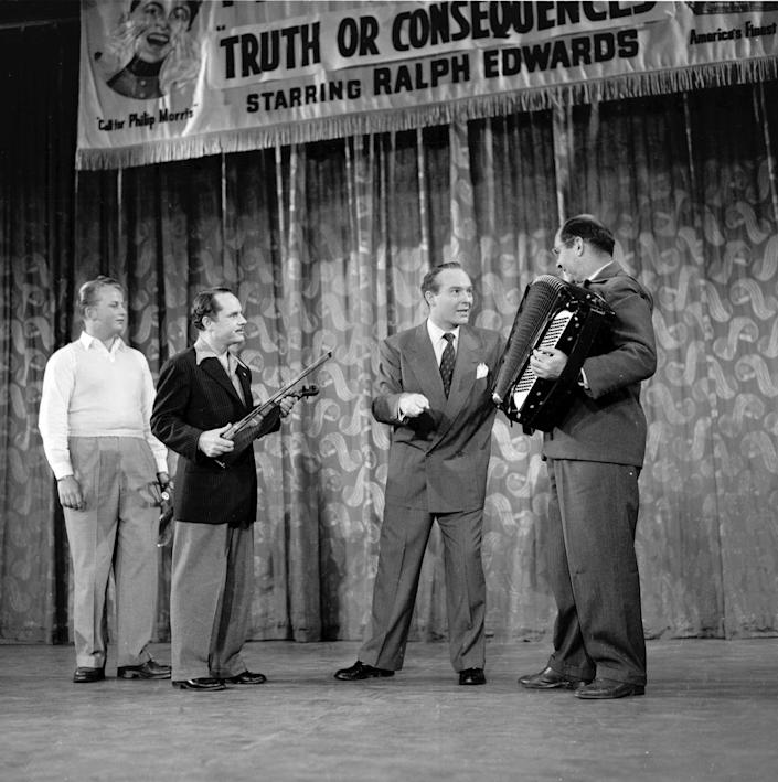 """<p>The game show originated on radio back in 1950 before making its TV debut. The premise was to answer trivia questions before """"Beulah the Buzzer"""" went off. If the contestant was wrong on the """"Truth,"""" the """"Consequence"""" was a funny stunt. The show aired for over 30 years.</p>"""