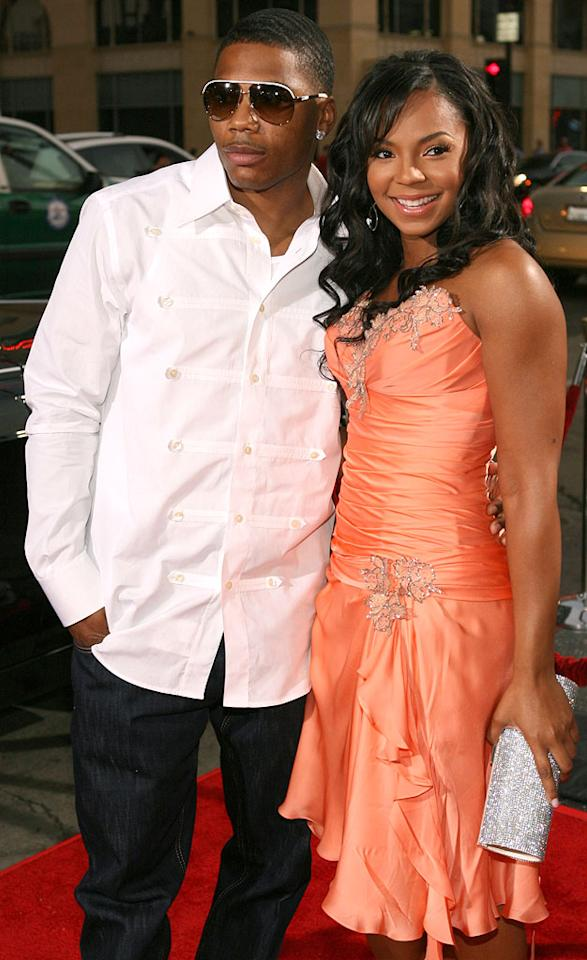 "One of hip-hop's hottest couples: Nelly and Ashanti Jesse Grant/<a href=""http://www.wireimage.com"" target=""new"">WireImage.com</a> - July 25, 2006"