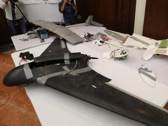 A drone which the Emirati armed forces say was used last year by Houthi rebels in Yemen in battles against the coalition forces led by the UAE and Saudi Arabia (KARIM SAHIB/AFP/Getty Images)