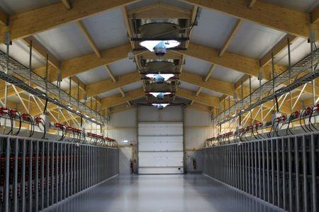 An interior view of U.S. bitcoin mining company Bitfury's mining farm near Keflavik