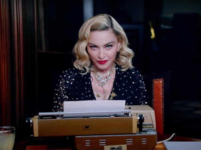 Madonna at her typewriter announcing her Madame X tour in 2019 (YouTube/Madonna)