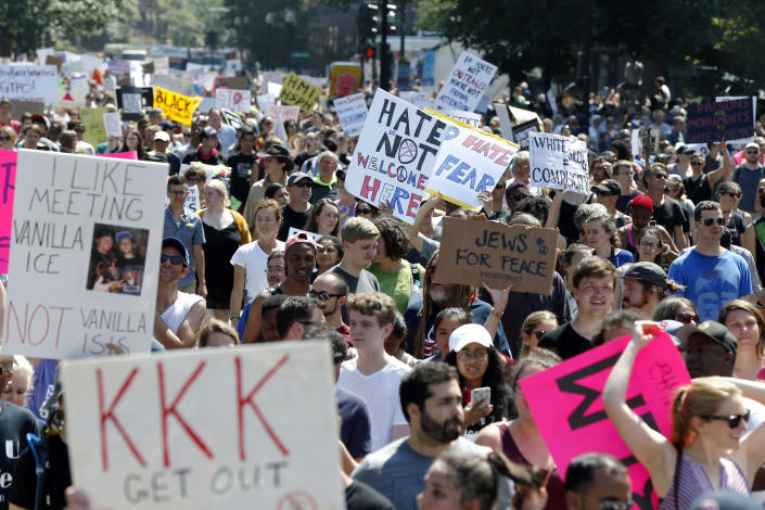 """Counterprotesters on the periphery of a """"Free Speech"""" rally staged by conservative activists on Boston Common, Aug. 19, 2017, in Boston. (Photo: Michael Dwyer/AP)"""