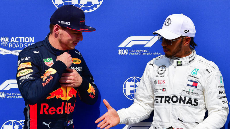 Max Verstappen and Lewis Hamilton on the podium at the F1.