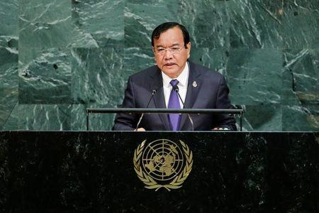 FILE PHOTO - Cambodia's Foreign Minister Sokhonn addresses the 72nd United Nations General Assembly at U.N. headquarters in New York