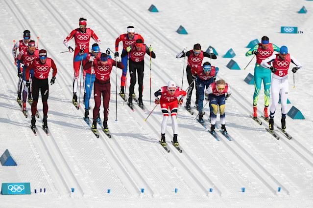 <p>Skiers compete in the men's cross-country skiing 4x10km relay race at the 2018 Winter Olympic Games, at the Alpensia Cross-Country Skiing Centre. Valery Sharifulin/TASS (Photo by Valery Sharifulin\TASS via Getty Images) </p>
