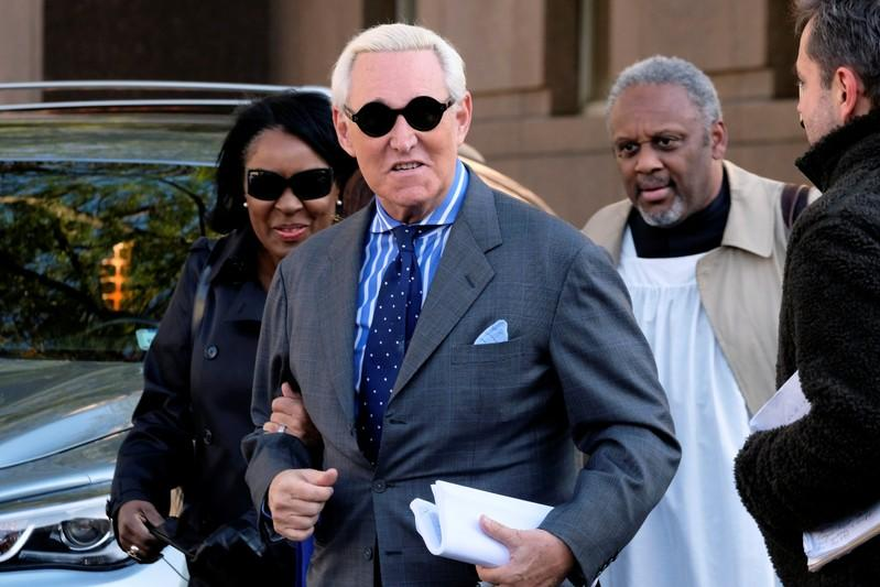 Roger Stone, former campaign adviser to U.S. President Donald Trump, arrives for the continuation of his criminal trial on charges of lying to Congress, obstructing justice and witness tampering at U.S. District Court in Washington