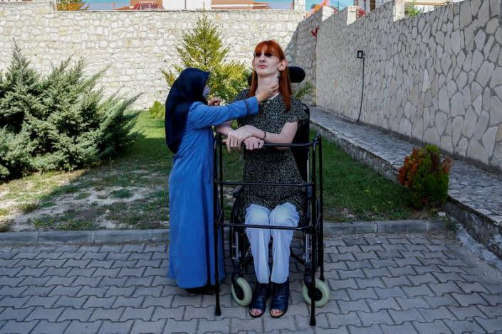 World's tallest woman Rumeysa Gelgi holds a news conference in Karabuk