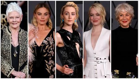 Nominees for the 75th Golden Globe Awards, Best Performance by an Actress in a Motion Picture, Musical or Comedy category, (L-R) Judy Dench, Margot Robbie, Saoirse Ronan, Emma Stone, and Helen Mirren are seen in a combination of file photos.  REUTERS/File Photos