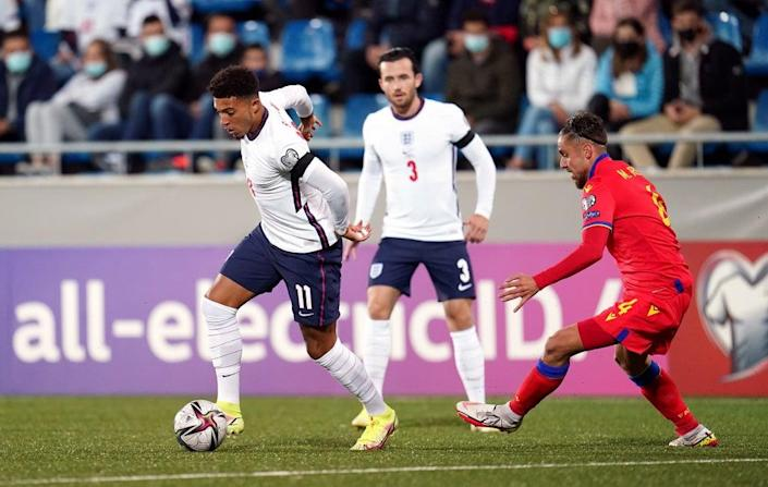 Sancho started for England in Saturday's 5-0 win in Andorra (Nick Potts/PA) (PA Wire)