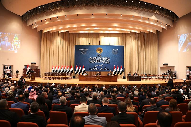 The Iraqi parliament, pictured here on October 24, 2018, has voted to approve the government's 2019 budget (AFP Photo/STR)